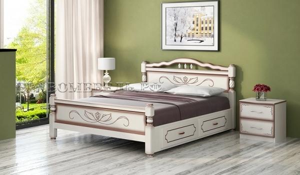 """Кровать """"Карина 5"""" дуб молочный с ящиками"""