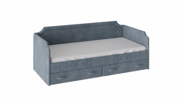 Кровать с мягкой обивкой и ящиками «Кантри» Тип 1 (900) (Замша синяя)