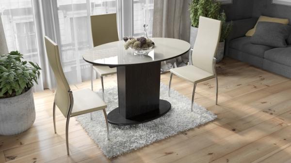 Стол обеденный со стеклом «Марсель» (Венге/Стекло бежевое глянец)