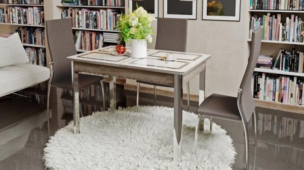 Стол обеденный на металлических ножках «Палермо» (Дуб Сонома трюфель/Стекло бежевое с рисунком)