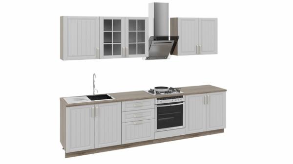 Кухонный гарнитур длиной - 300 см (со шкафом НБ) (Дуб Сонома трюфель/Крем)