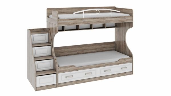 Двухъярусная кровать с лестницей с ящиками «Прованс» (Дуб Сонома трюфель/Крем)