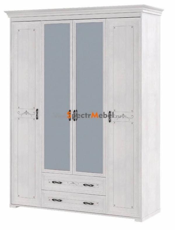 Шкаф четырёхстворчатый светлый с зеркалом и ящиками