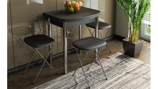 Стол обеденный с хромированными ножками «Лион (мини)» (Венге)