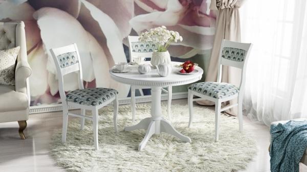 Обеденная группа: стол «Орландо Т1», стулья «Орлеан» (Белый матовый/тк № 62)