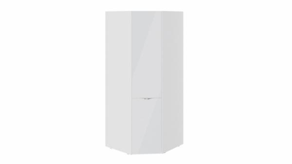 Шкаф угловой со стеклянной дверью «Глосс» (Белый глянец/Стекло)
