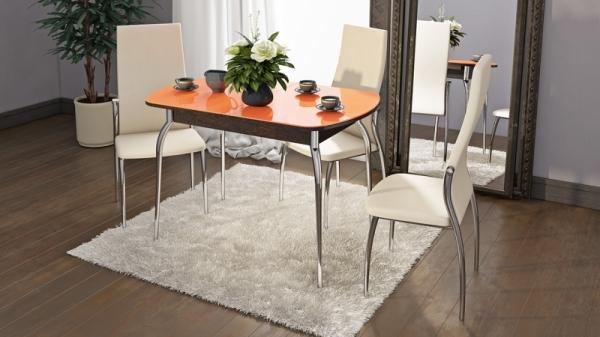 Стол обеденный раздвижной со стеклом «Милан» (Венге, стекло оранжевое)