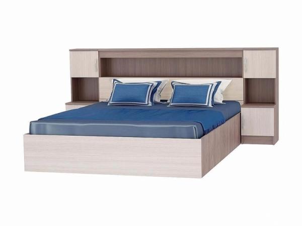 Кровать с закроватным модулем 2352x2232х1016 ясень шимо темный\светлый кр-552