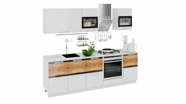 Кухонный гарнитур длиной - 240 см (со шкафом НБ) (ФЭНТЕЗИ (Белый универс.)/(Вуд))