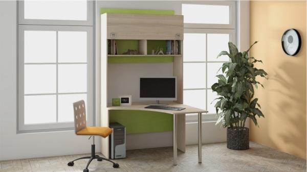 Угловой письменный стол с надстройкой «Киви» № 7 (Ясень Коимбра)