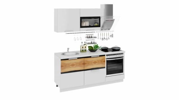 Кухонный гарнитур длиной - 180 см (со шкафом НБ) (ФЭНТЕЗИ (Белый универс.)/(Вуд))