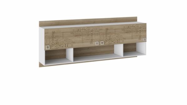 Шкаф настенный «Оксфорд» (Ривьера/Белый с рисунком)