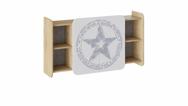 Шкаф навесной «Мегаполис» (Бунратти/Белый с рисунком)