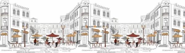 Фартук для кухни Уличное кафе 3000х1,5х600 мм