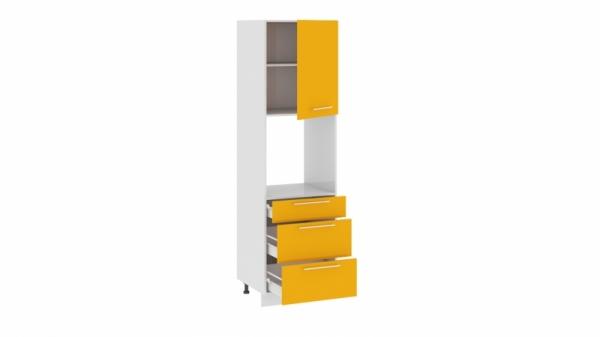 Шкаф пенал под бытовую технику с 3-мя ящиками ПБ(3)3я_204-60_3Я1ДР Желтая