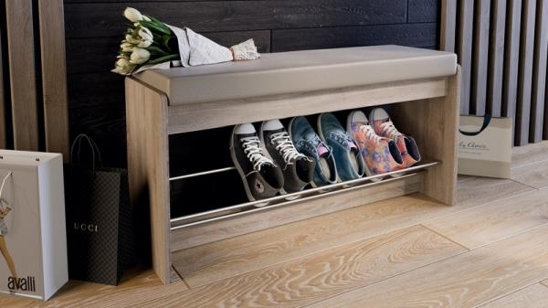 Тумба для обуви «Тайм» тип 2 (Дуб Сонома трюфель/Кожзам бежевый)
