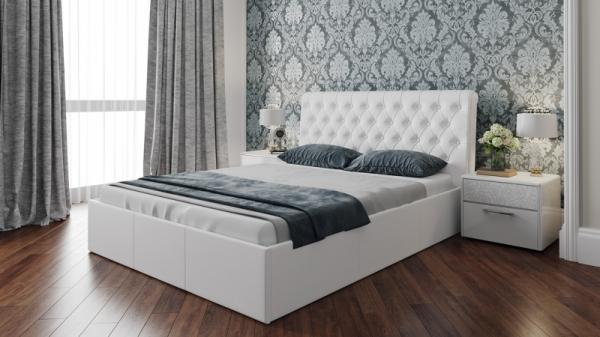 Кровать «Скарлет» с мягким изголовьем (Белая)