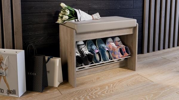 Тумба для обуви «Тайм» тип 1 (Дуб Сонома трюфель/Кожзам бежевый)