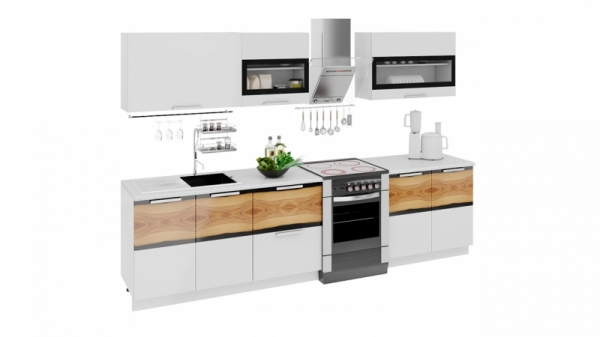 Кухонный гарнитур длиной - 300 см (ФЭНТЕЗИ (Белый универс.)/(Вуд))