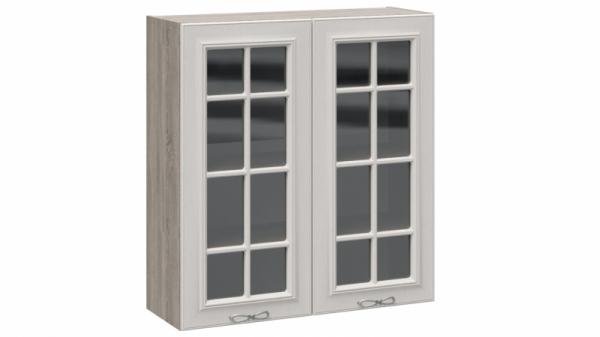 Шкаф навесной cо стеклом В_96-90_2ДРс Серо-бежевая 96 см