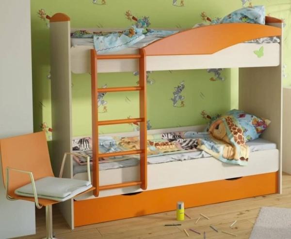 Кровать детская двухъярусная 1900х760х1670 мм с ящиками