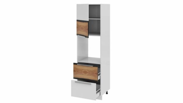Шкаф пенал под бытовую технику с 2-мя ящиками (левый) ПБ2я_204-60_2Я1ДР(А) Белая