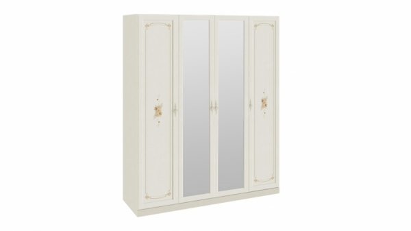 Шкаф для одежды и белья с 2 глухими дверями и 2 зеркальными «Лючия» (Штрихлак)