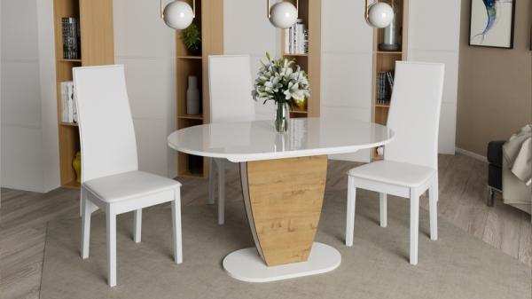 Стол обеденный «Монреаль» Тип 1 (Белый глянец/бунратти)