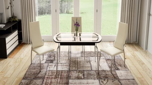 Стол обеденный раздвижной со стеклом «Рио» (Венге/Стекло бежевое с рисунком)