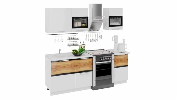 Кухонный гарнитур длиной - 210 см (ФЭНТЕЗИ (Белый универс.)/(Вуд))