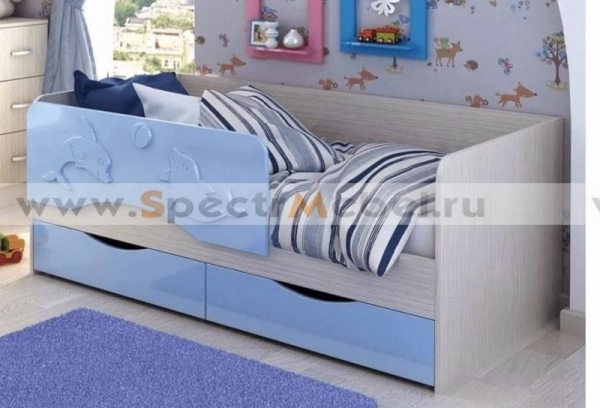Кровать детская Алиса 80х160 голубой металлик