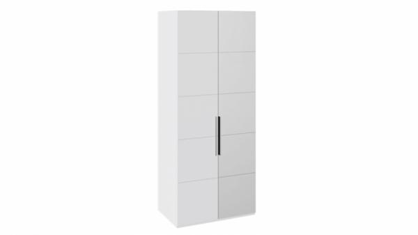 Шкаф с 1-й глухой и 1-й зеркальной правой дверями «Наоми» (Белый глянец)