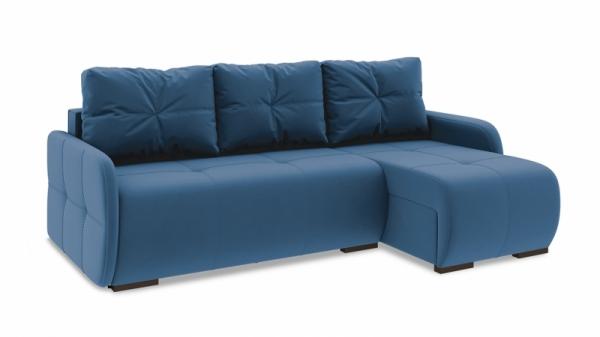 Диван угловой правый «Томас Slim Т1» (Beauty 07 (велюр) синий)