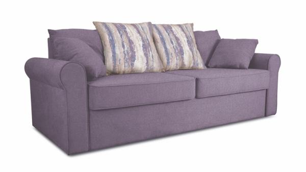 Диван «Шерри» (Neo 09 (рогожка) фиолетовый , подушки Tiffani vanilla sky (шинил) ванильное небо)