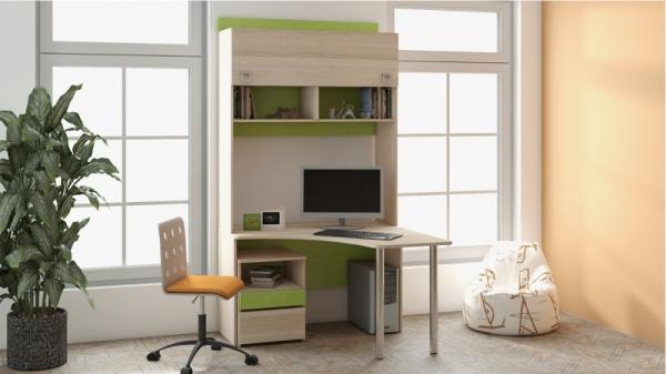 Угловой письменный стол с надстройкой «Киви» № 9 (Панареа, Ясень Коимбра)
