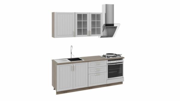 Кухонный гарнитур длиной - 210 см (со шкафом НБ) (Дуб Сонома трюфель/Крем)