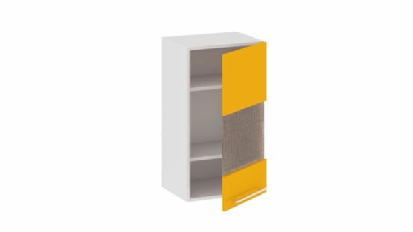 Шкаф навесной со стеклом (правый) В_72-40_1ДРс(Б) Желтая 72 см