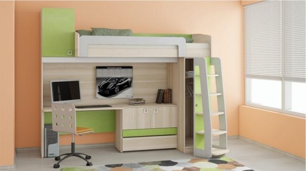 Кровать-чердак с рабочей зоной «Киви» №4 (Панареа, Ясень Коимбра)