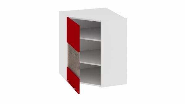 Шкаф навесной угловой с углом 45° со стеклом (левый) ВУ45_72-(40)_1ДРс(А) Красная 72 см