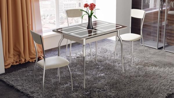 Стол обеденный раздвижной «Рим» (Дуб Белфорт, стекло коричневое с рисунком)
