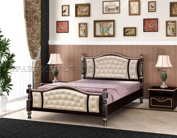 """Кровать """"Жасмин"""" орех темный, светлая кожа"""