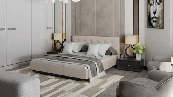 Кровать «Элис» c мягкой обивкой тип 2 (Серо-бежевый)