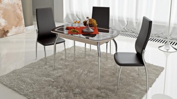 Стол обеденный раздвижной со стеклом с рисунком «Милан» (Дуб Белфорт, стекло коричневое с рисунком)