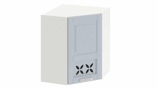 Шкаф навесной угловой c углом 45 с декором ВУ45_72-(40)_1ДРД(R) Голубая 72 см