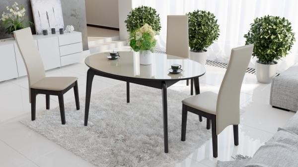 Стол обеденный раздвижной со стеклом «Марсель» (Венге/Стекло бежевое глянец)