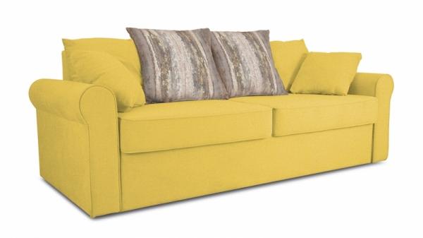 Диван «Шерри» (Maserati 11 (велюр) желтый, подушки Tiffany wood (шинил) древесный)