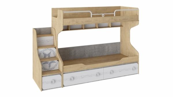 Кровать двухъярусная с приставной лестницей «Мегаполис» (Бунратти/Белый с рисунком)