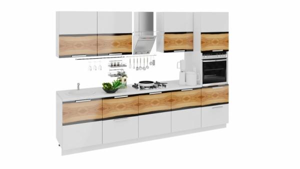 Кухонный гарнитур длиной - 300 см (с пеналом ПБ) (ФЭНТЕЗИ (Вуд))
