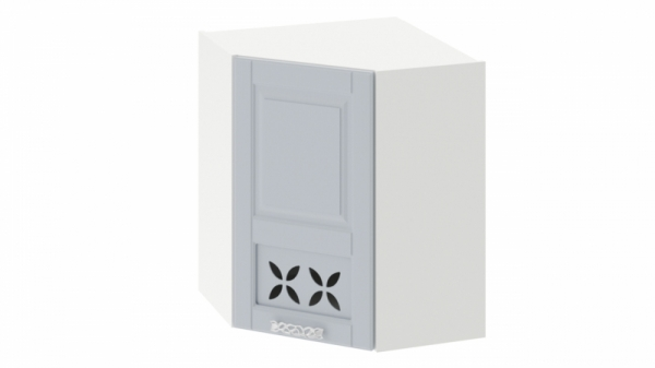 Шкаф навесной угловой c углом 45 с декором ВУ45_72-(40)_1ДРД(L) Голубая 72 см
