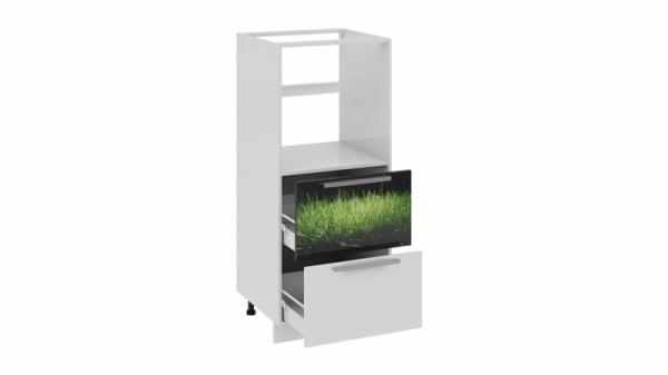 Шкаф комбинированный под бытовую технику с 2-мя ящиками КБ2я_132(72)-60_2Я Белая